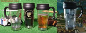 see thru golf mugs, with golf balls, cups